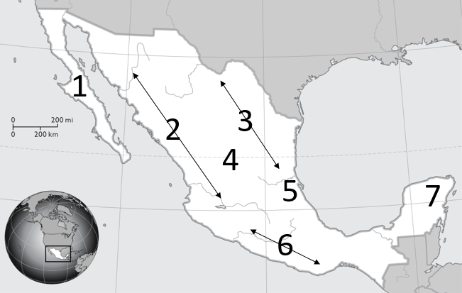 Quia - Mexico Map - Flashcards #1 Land