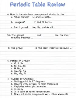 section 4 use your periodic table with electron levels notebook page 44 to answer questions a c for each question look at the group specified and the