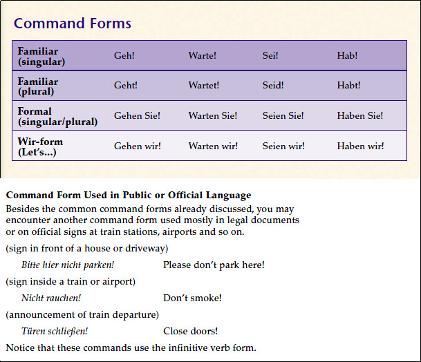 Quia - Command Forms of German Verbs