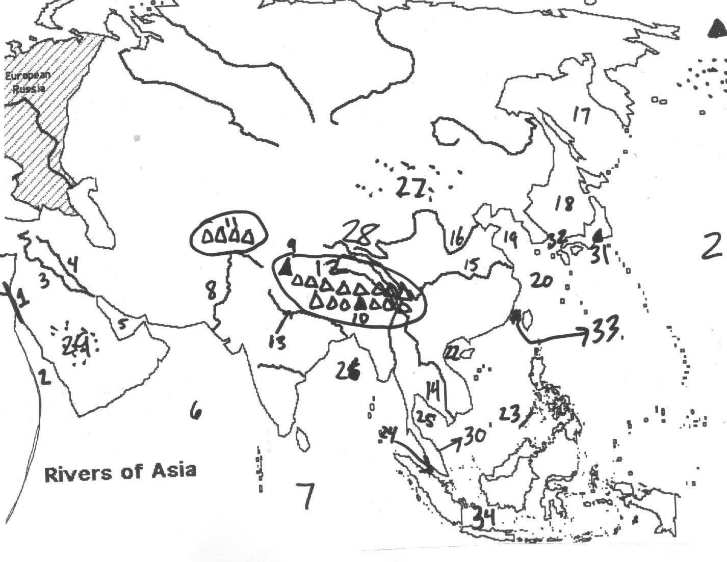 Map Of Asia Test.Quia 2nd Semester Pre Test World Geography