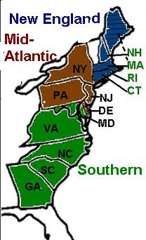 The Mid Atlantic Colonies  Mid Atlantic Colonies Product Map