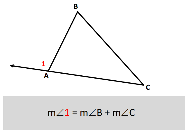 Quia unit 4 flashcards - The exterior angle of a triangle is equal to ...