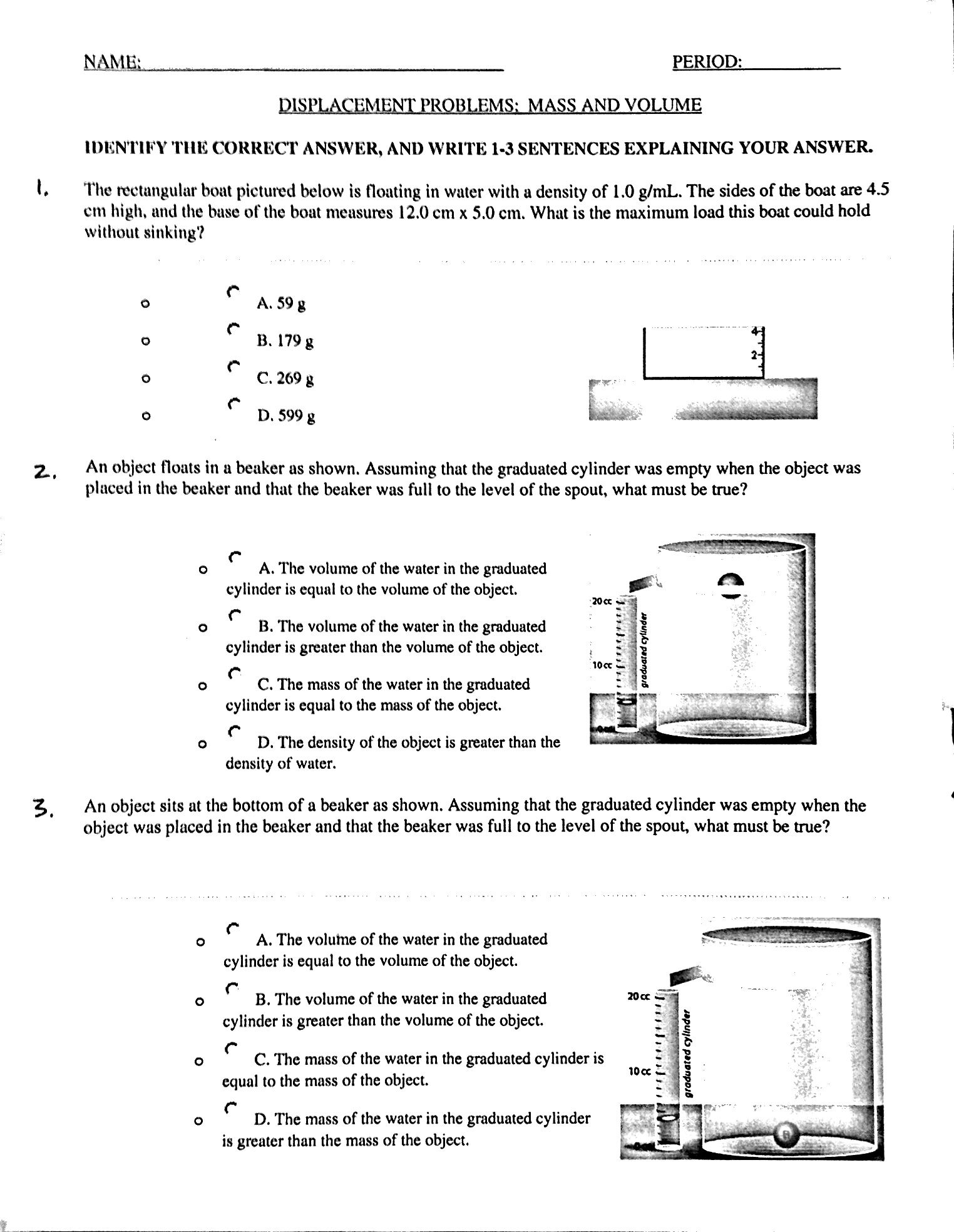 Mass and Volume – Triple Beam Balance Practice Worksheet