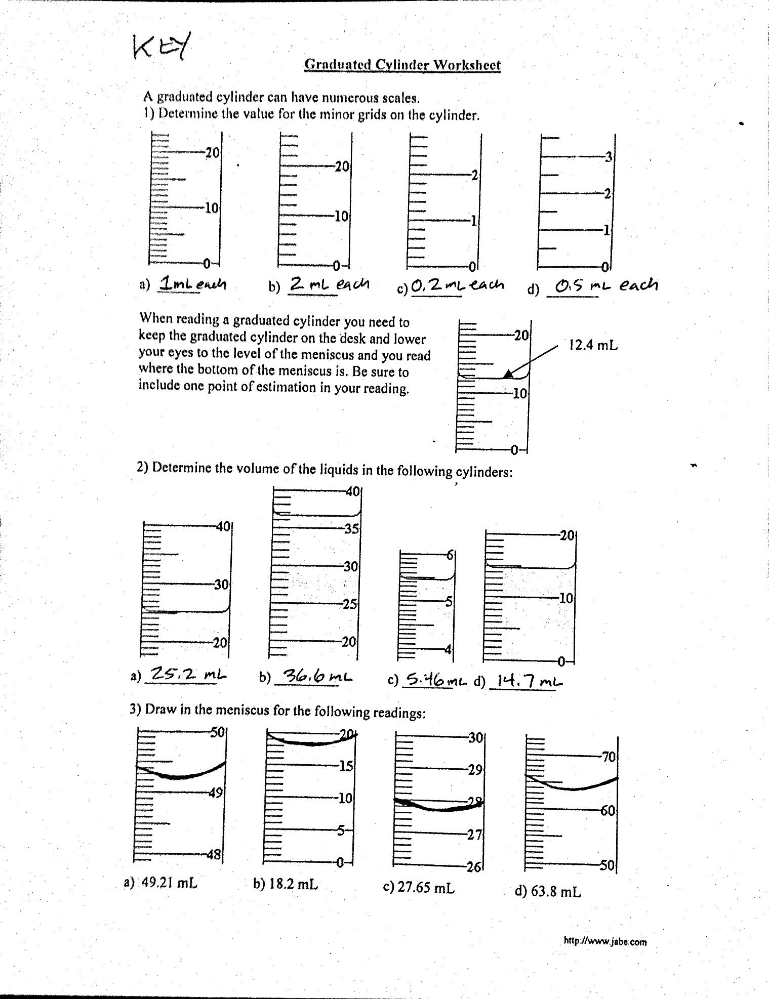 Worksheets Measuring Liquid Volume Worksheet measurement mass and volume mr gibbs science 20 key graduated cylinder worksheet