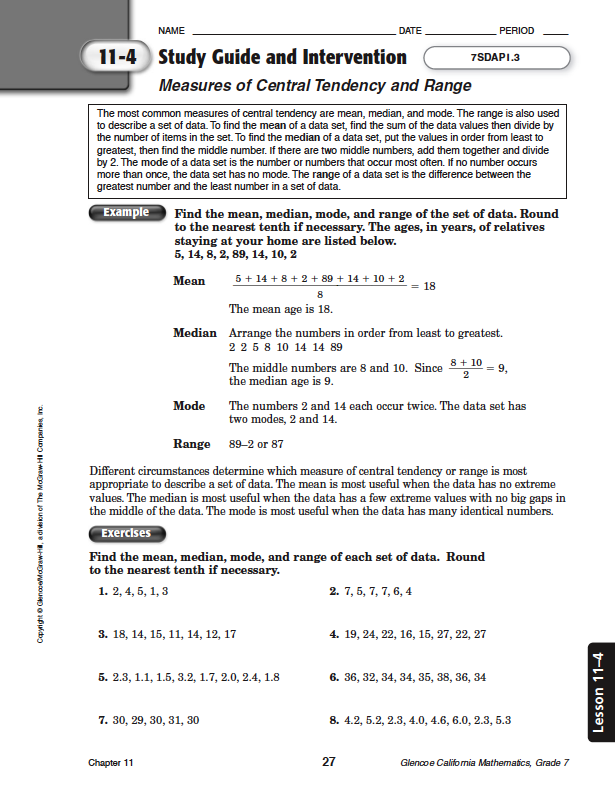 lesson 4 test Chapter 4 resource masters the chapter 4 resource masters includes the core materials needed for chapter 4 these  students before beginning lesson 4-1 remind them to add these pages to their mathematics study notebooks anticipation guide  page test assesses students' grasp of skills.