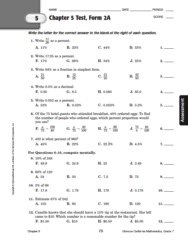 Quia - Class Page - Math Chapter 5