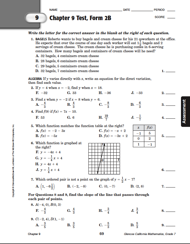 90 CHAPTER 9 TEST FORM 2A ANSWER KEY
