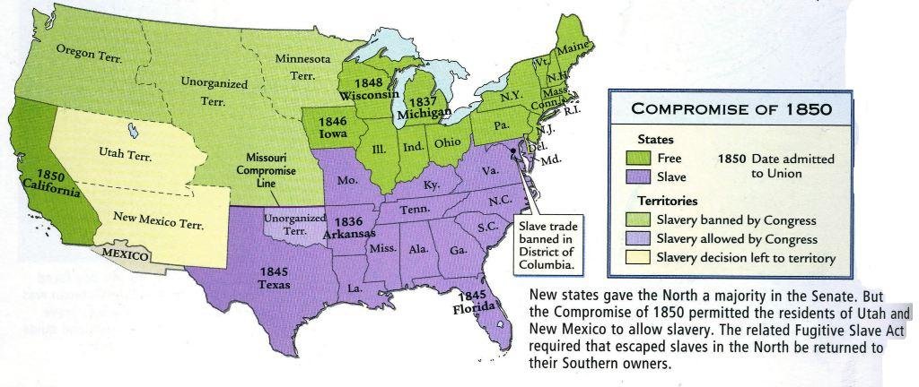Quia Map The Compromise Of LATE - Compromise of 1850 map