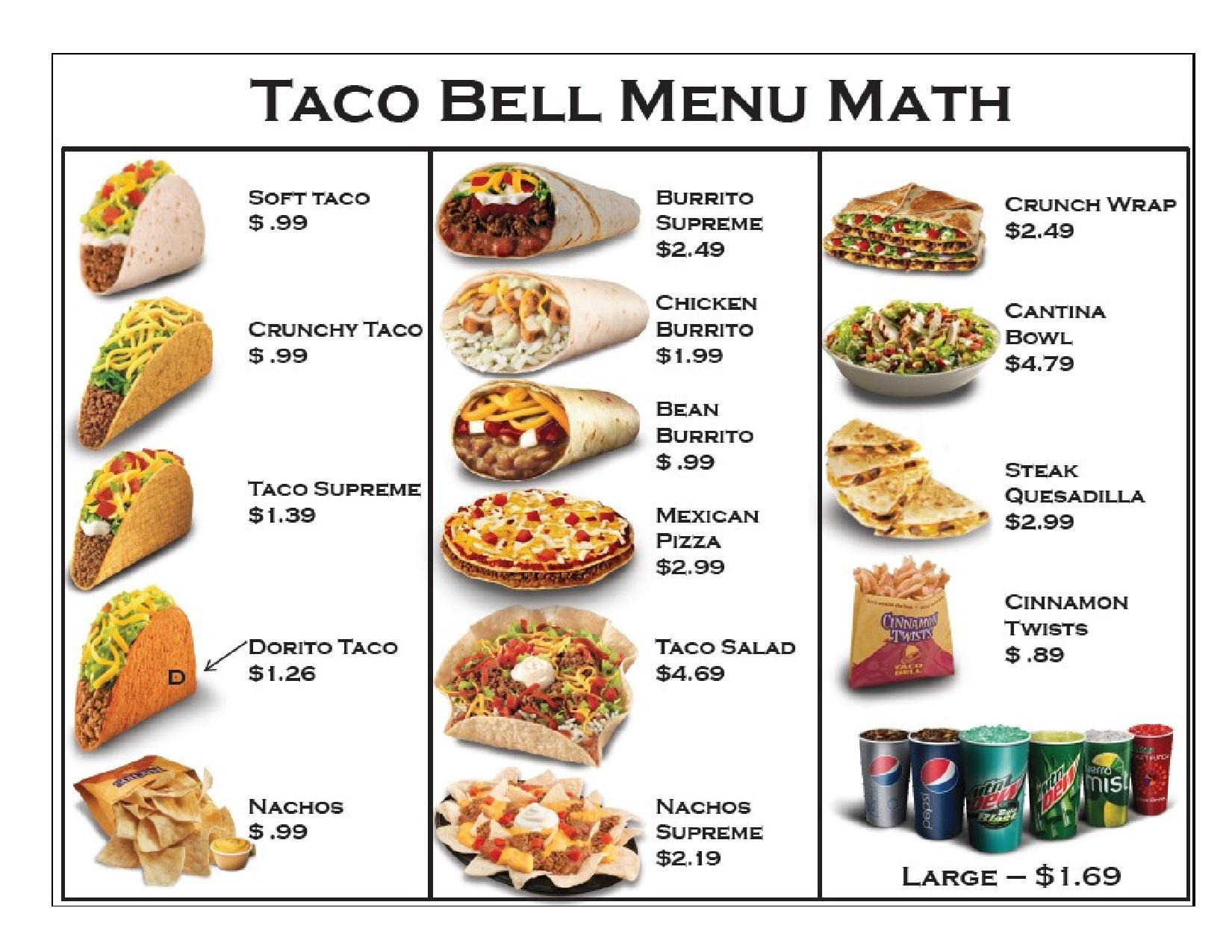 This is a picture of Revered Taco Bell Printable Menu
