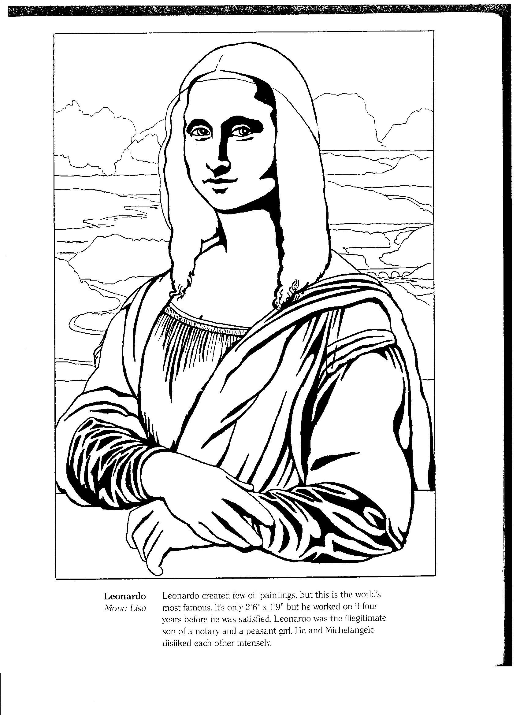 Mona lisa outline coloring page sketch coloring page for Mona lisa coloring pages