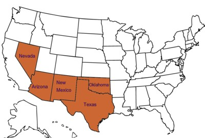 Map Of The Southwest States - Map-southwest-region-us