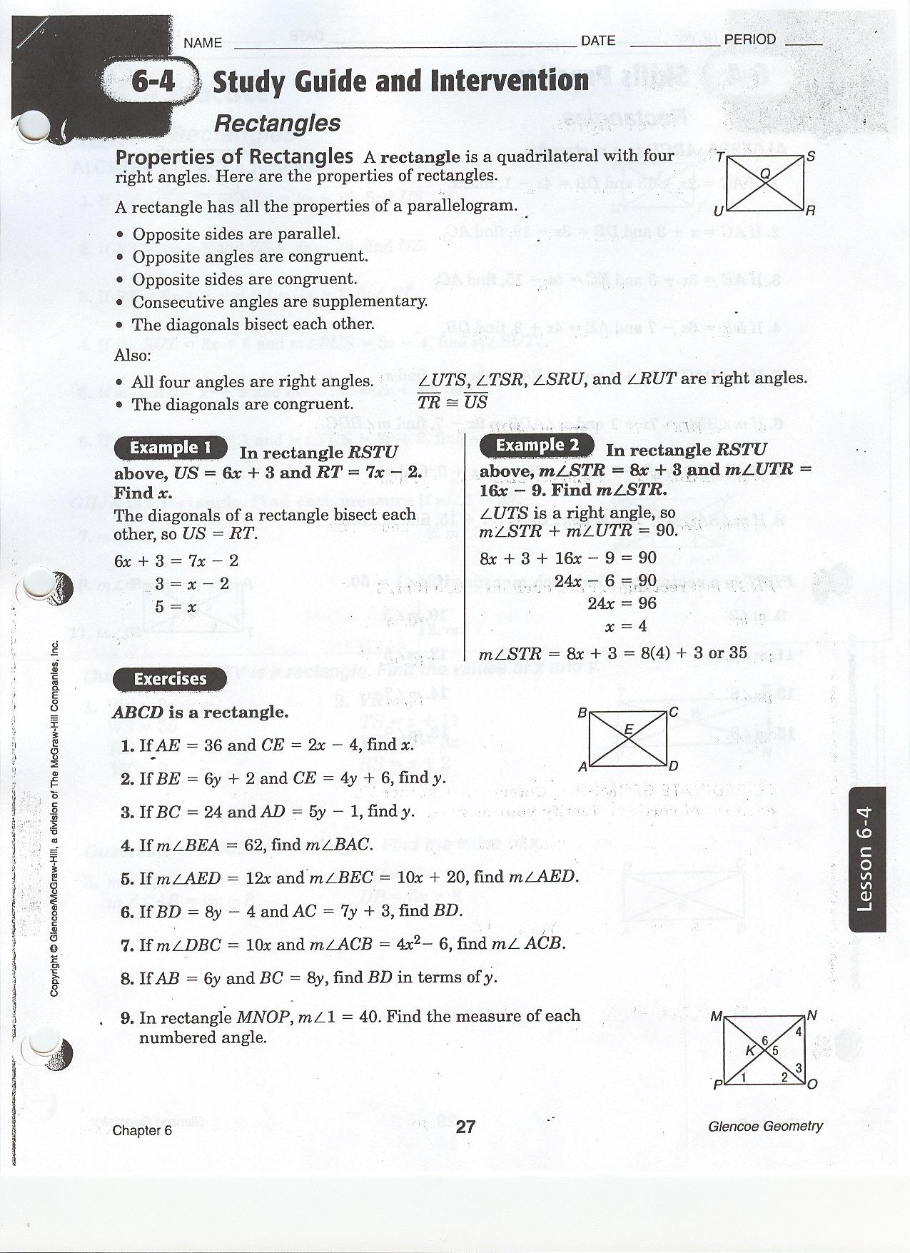 worksheet Properties Of Parallelograms Worksheet quia class page geometry period 4 homework rectangle wksht 6 p