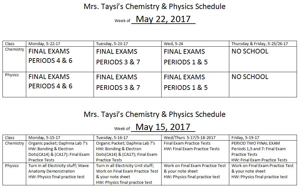 Quia Class Page A2016 17 Class Calendars