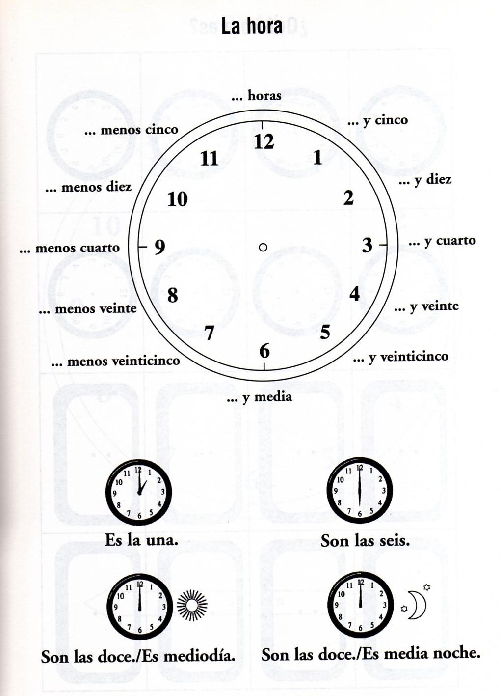 Que Hora Es Worksheet for Pinterest