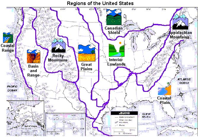 Geography Map Of Lowland Plains In Canada And The Us