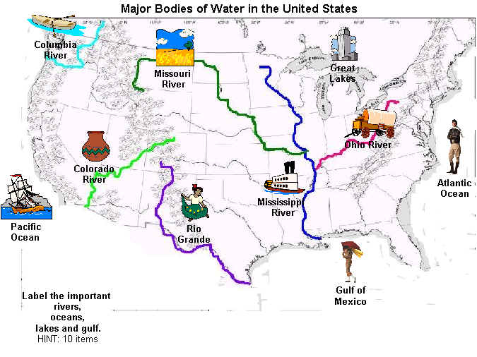 Geography - Bodies of water us map