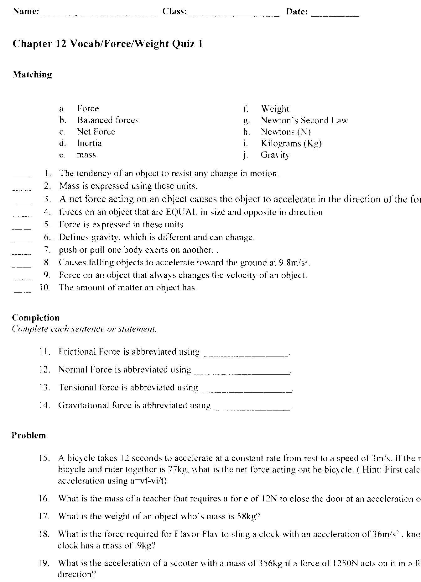 worksheet Momentum Problems Worksheet quia class page riverspscience worksheetsforce quiz side 1 force 2 momentum problems